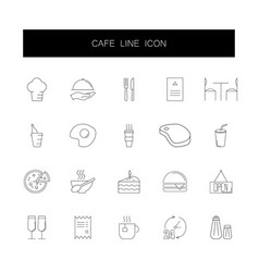 line icons set cafe and restaurant pack vector image