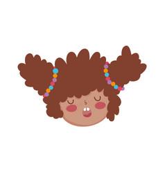 Little chubby girl head character vector