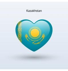 Love Kazakhstan symbol Heart flag icon vector