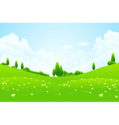 lush green fields vector image