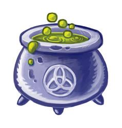 Magic cauldron boiling green liquid wicca vector