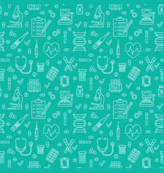 Medical seamless pattern blue color clinic vector