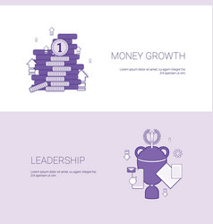 Money growth and leadership business success vector