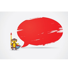 Monkey painted the speech bubble vector image