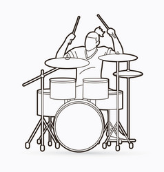 Musician playing drum music band vector