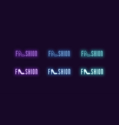 Neon icon set word fashion glowing neon text vector