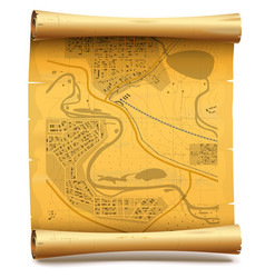 Paper scroll with map vector