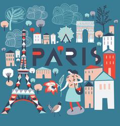 Paris france print design vector