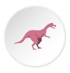 Pink hypsilophodon dinosaur icon circle vector