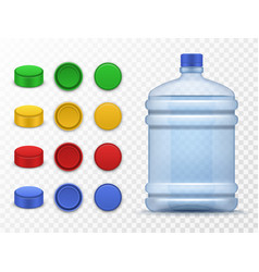 plastic bottles and caps pack for drink vector image