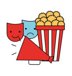 popcorn megaphone and masks cinema movie vector image