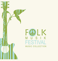 Poster for folk music festival with guitar vector