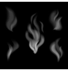 realistic smoke design set smoke on black vector image