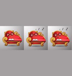Red sofa asleep while reading cartoon character vector