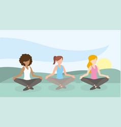 Relax women lifestyle training exercise vector