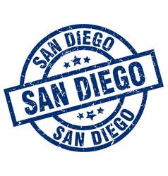 San diego blue round grunge stamp vector