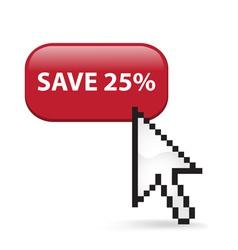Save 25 Button Click vector