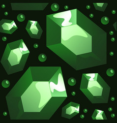 seamless pattern of emeralds on black background vector image