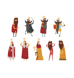 set different funny bearded kings in different vector image