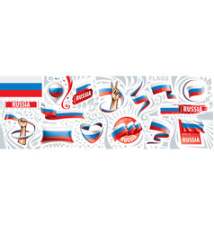 set national flag russia in vector image