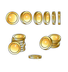 set of rotating turning gold coins and stakcs vector image