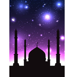 Silhouette of mosque in the starry b vector