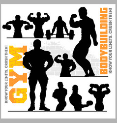 Silhouettes of bodybuilders - gym icon set vector