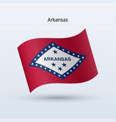 State arkansas flag waving form vector