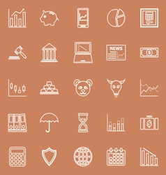 Stock market line icons on brown background vector image