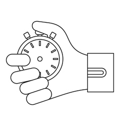 Stopwatch in hand icon outline style vector