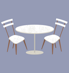 Table and chair furniture plastic or wood vector