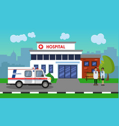 the ambulance opposite the of the hospital vector image