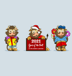 three baby bulls in different full-length poses vector image