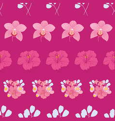 tropical flowers stripes seamless pattern print vector image