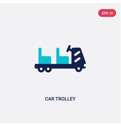 two color car trolley icon from airport terminal vector image