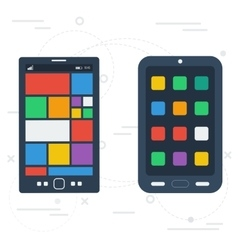 Two operation systems of smartphones vector image