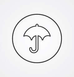 umbrella outline symbol dark on white background vector image