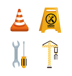 under construction equipment tools hardwork vector image