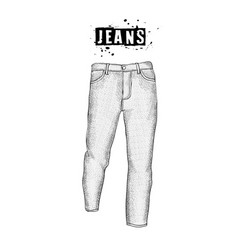 vintage mens jeans in front views isolated on vector image
