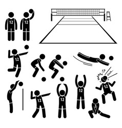 Volleyball player actions poses postures stick vector