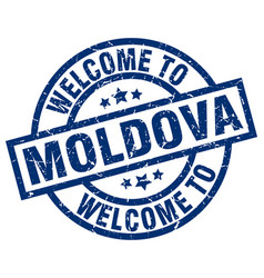 Welcome to moldova blue stamp vector