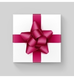 White Box with Dark Pink Ribbon Bow Isolated vector