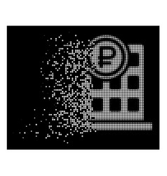 White moving pixel halftone rouble bank office vector
