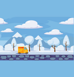 Winter landscape trees and snow delivery track vector