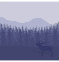 With trees and deer vector