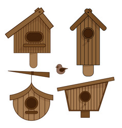 wooden birdhouses set of vector image
