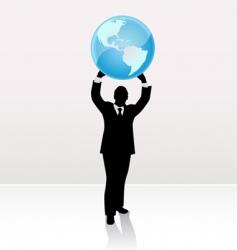 businessman lifting world vector image vector image