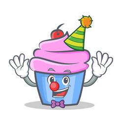 clown cupcake character cartoon style vector image vector image