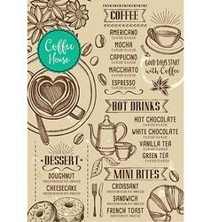 Coffee restaurant cafe menu template design vector image