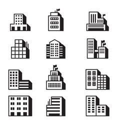 building icons symbol set vector image vector image